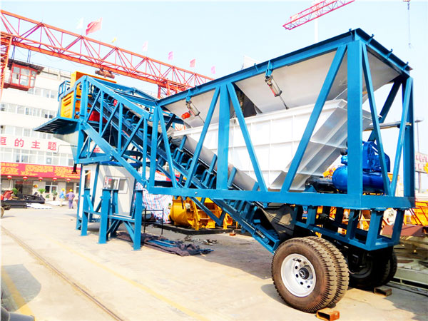 YHZS50 mobile ready mix concrete plant