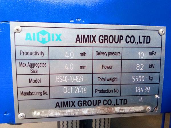 nameplate of diesel concrete pump mixer