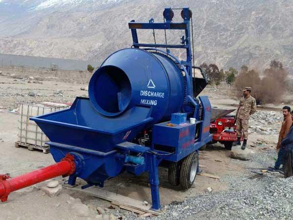 mobile diesel concrete mixer and pump