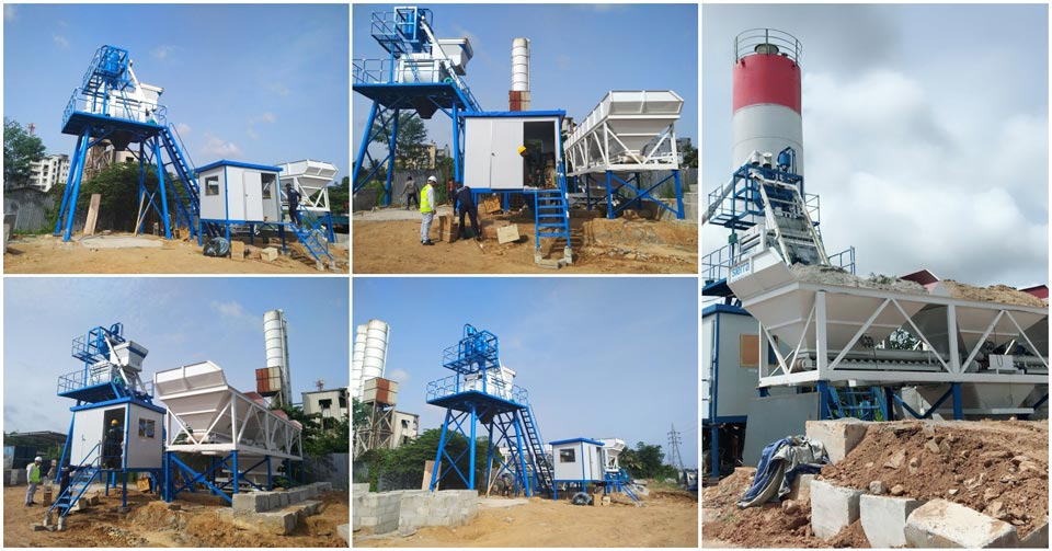 installation of HZS50 concrete batching plant