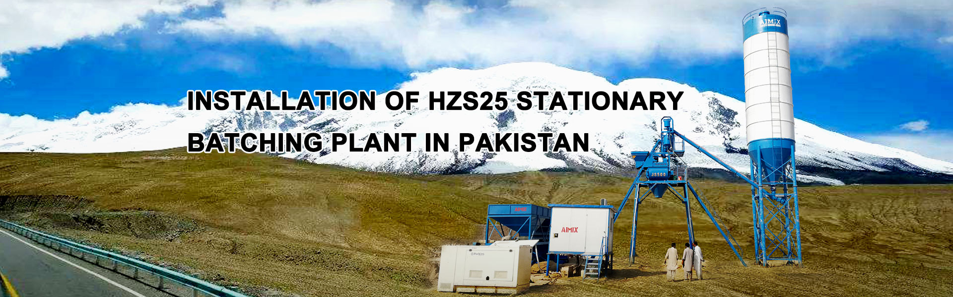 HZS25 stationary batching plant in Pakistan
