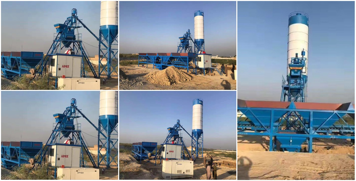 HZS25 stationary concrete batching plant in Pakistan