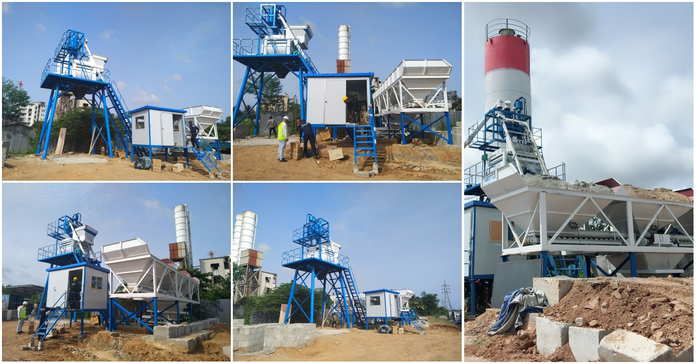 Installation of HZS50 stationary concrete plant in Sri Lanka