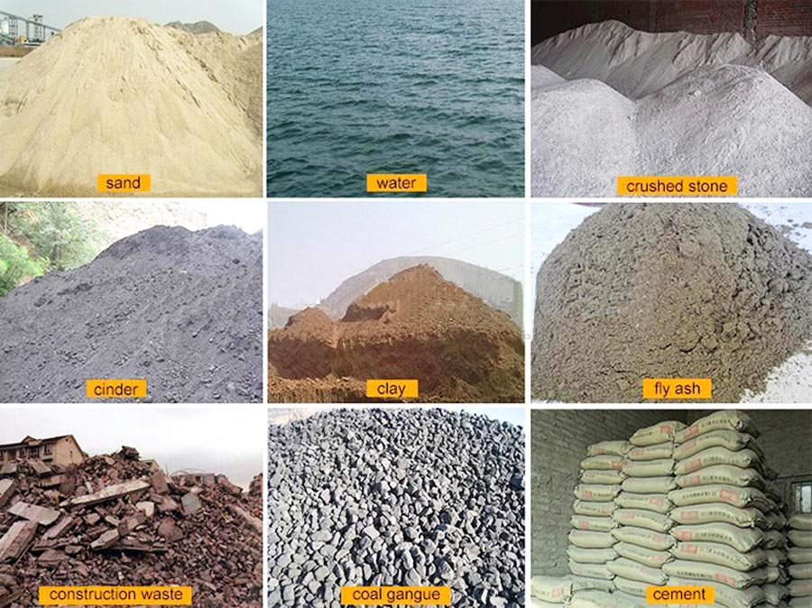 raw materials of concrete brick production