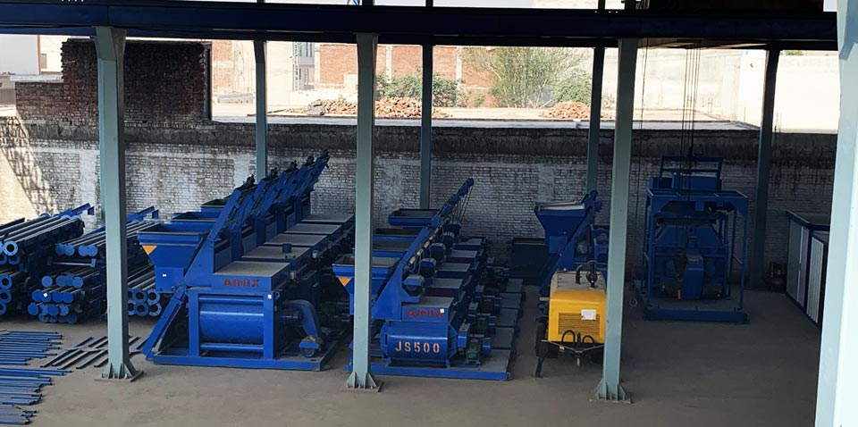 twin shaft concrete mixer workshop