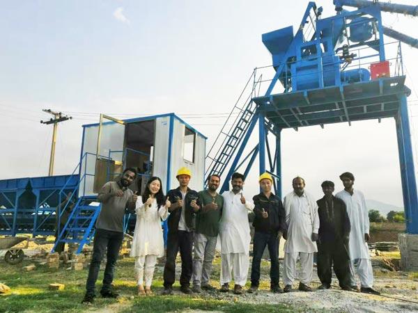installation of AJ-50 concrete mixing plant