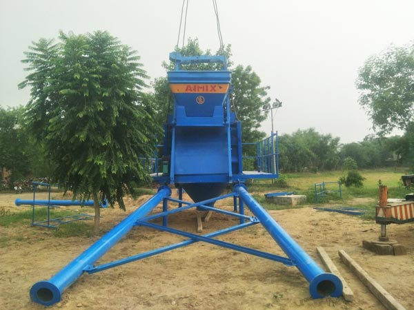 twin-shaft concrete mixer installation