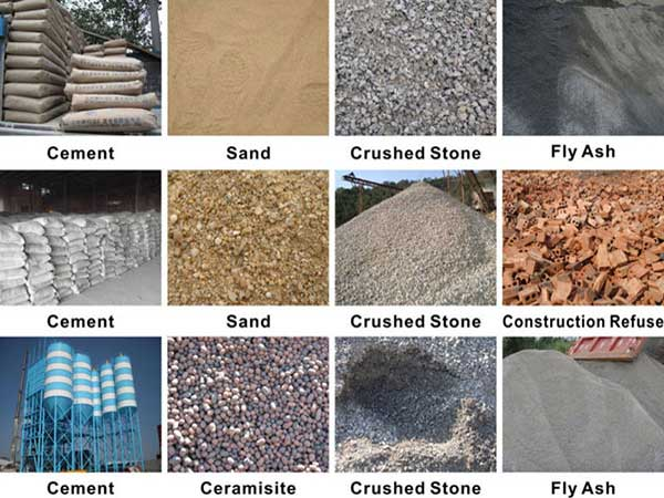 different raw materials