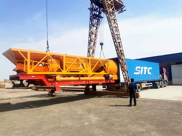 portable concrete batch plant shipment