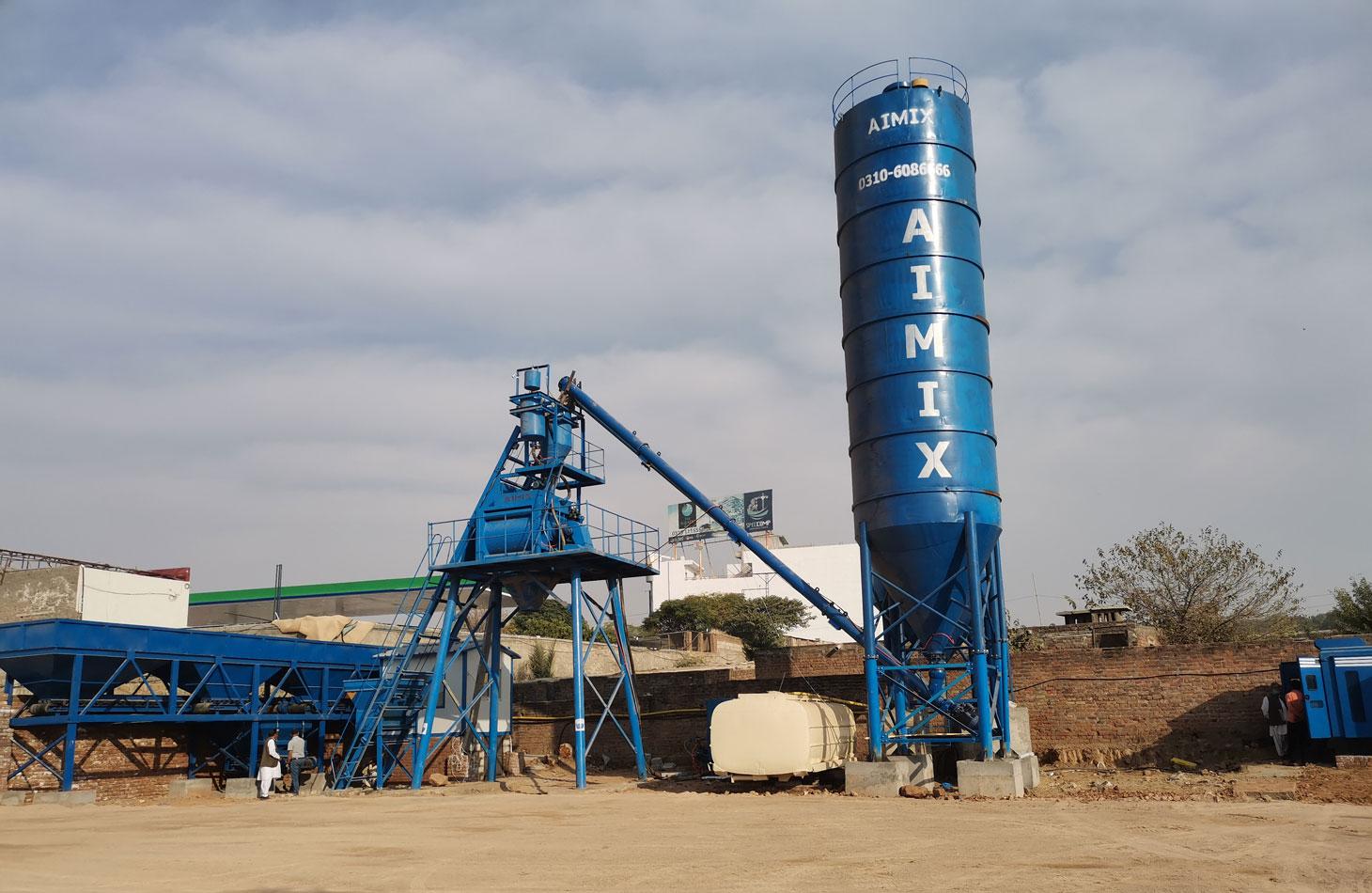 install AJ-50 stationary concrete plant in Pakistan
